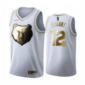 Memphis Grizzlies Ja Morant White Gold Jersey